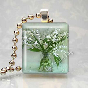 LILY OF THE VALLEY FLOWER Scrabble Tile Altered Art Pendant Jewelry Charm