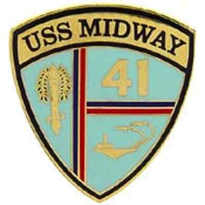 US NAVY USS MIDWAY CV-41 Lapel PIN Naval Aircraft carrier 1 inch 2 post Pin