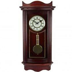Bedford*WEATHERED CHERRY WOOD Finish*25WALL CLOCK*with PENDULUM & 4 CHIME MODES