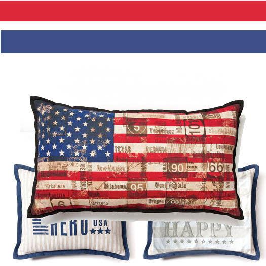 STARS & STRIPES Americana USA Decorative PILLOW Set of 3 USA Flag Hero Liberty
