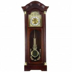 Bedford*33Antique CHERRY OAK FINISH*Grandfather WALL CLOCK*with PENDULUM&CHIMES