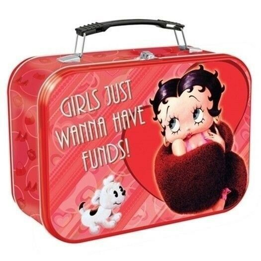 Betty Boop Girls Just Wanna Have Funds! Large Tin Tote Lunchbox, NEW UNUSED