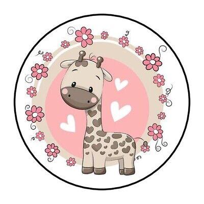 Baby Shower Giraffe (30 Girl Baby Shower Stickers favors pink round baby giraffe envleope seals)