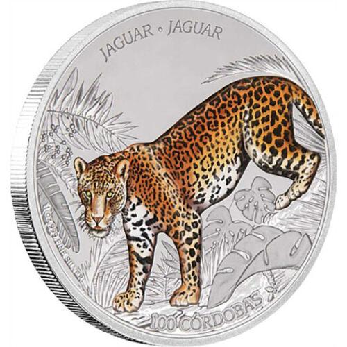 2018 100 Cordobas Nicaragua 1 oz Silver Proof Jaguar Cat Coin