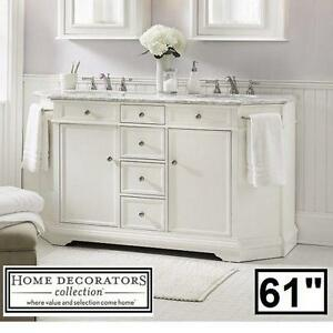 "NEW HDC 61"" DOUBLE VANITY COMBO - 121190347 - HOME DECORATORS COLLECTION BELVEDERE WHITE CABINET MARBLE TOP BATHROOM ..."