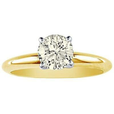0.35Ct Natural Diamond Four Prong Set Solitaire Anniversary Ring 14K Yellow Gold