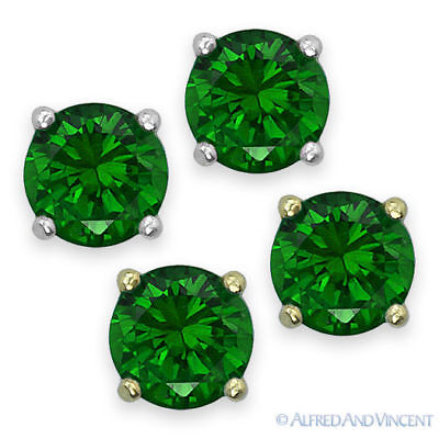 Round Cut Cubic Zirconia CZ Faux Emerald .925 Sterling Silver Stud Earrings May