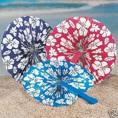 12 LUAU Tiki Tropical Hawaiian Party Favors Paper HIBISCUS Flowers Folding Fans