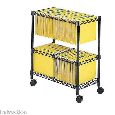5278bl 2 Tier Double Shelf Rolling File Cart Black Locking Castors 300 Lbs Cap