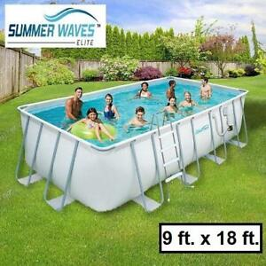 NEW SUMMER WAVES ELITE POOL PACKAGE NB2046 169821879 9 ft. x 18 ft. Rectangular 52-inch DEEP METAL FRAME