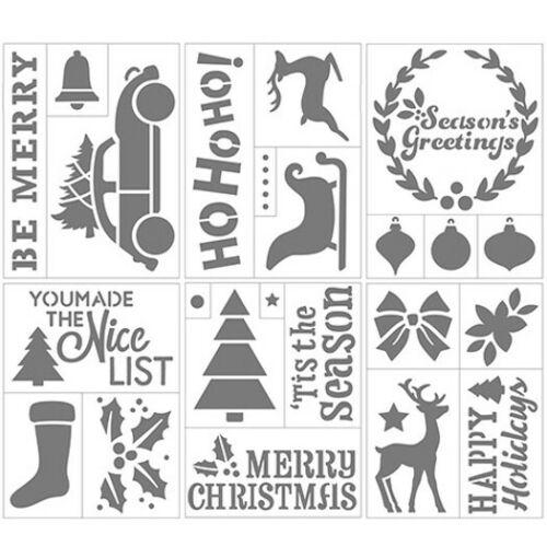 "Darice CHRISTMAS Themed Self-Adhesive Stencil - Tree, Stocking, Holly   6"" x 8"""