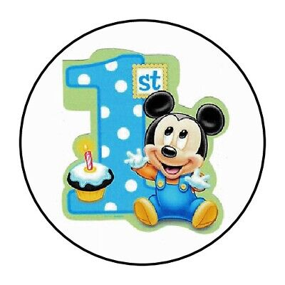30 Baby Mickey mouse first birthday party stickers 1st favors seals lollipop  - First Birthday Favors