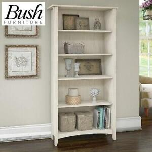 NEW BUSH 5 SHELF BOOKCASE SAB132AW-03 244269848 FURNITURE HOME DECOR SALINAS ANTIQUE WHITE