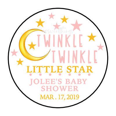 30 TWINKLE TWINKLE LITTLE STAR GIRL Baby Shower Party Favor Envelope Sticker 1.5 - Twinkle Little Star Baby Shower