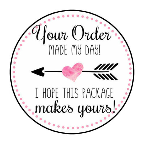 """30 1.5"""" THANK YOU HEART MADE MY DAY FAVOR LABELS ROUND STICKERS ENVELOPE SEALS"""