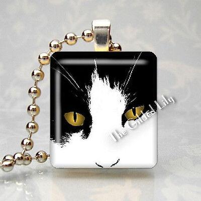 CAT FACE GOLD EYES FELINE PET KITTEN Scrabble Tile Art Pendant Jewelry Charm