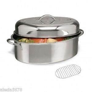 cuisine select 16 034 oval turkey roaster pan with lid amp roasting rack stainless steel ebay. Black Bedroom Furniture Sets. Home Design Ideas