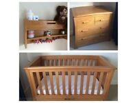 Mamas & Papas Ocean Cot / Day Bed, Drawers & Shelf (dark oak)