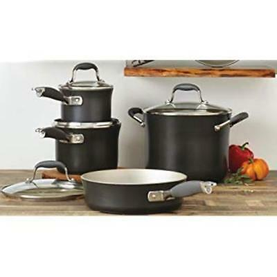 Anolon 11 Piece Cookware Set Hard-Anodized Nonstick Advanced Gray Pewter