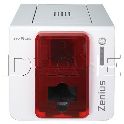 New Evolis Zenius Classic Fire Red Single Sided Id Card Printer Zn1u0000rs