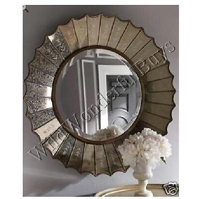 """Rosette Ruffled Wall Mirror Antiqued Silver 32"""" Etched Stencil Round Venetian"""