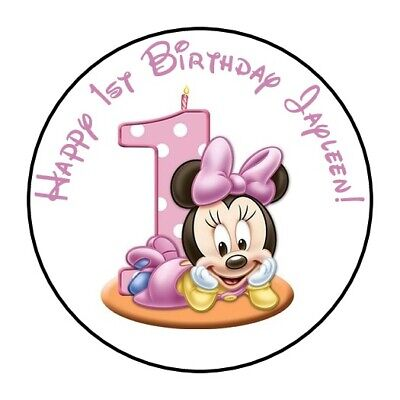 30 Personalized Baby Minnie Mouse First Birthday party stickers 1st favors label - First Birthday Favors
