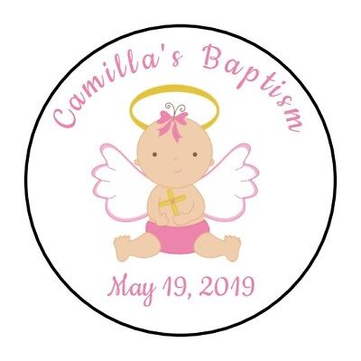 Christening Party Supplies (30 Personalizd Baptism Christening party stickers labels favors girl pink)