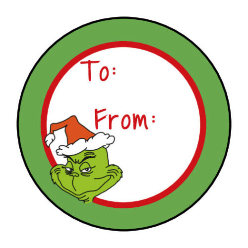 Christmas Holiday gift tag stickers, labels, Green, grinch