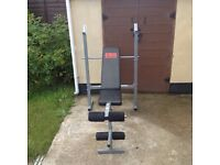 Pro Power Weights Bench for Bench Press Leg Curl Incline and Decline Folds Up Hardly Used VGC