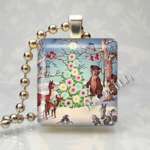 CHRISTMAS FOR THE ANIMALS VINTAGE SCENE Scrabble Tile Art Pendant Jewelry Charm