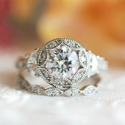 3.75Ct White Diamond & Moon Stone Engagement Superb Ring Sets In 14K White -