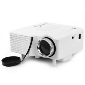 Home Mini LED Projector - High Definition 400 Lumens - Support HDMI, AV, SD, USB, VGA - White