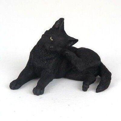 Black Cat - Rear Foot Scratching Ear - Figurine Miniature 3