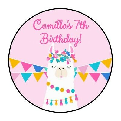 30 Llama Birthday party stickers Fiesta pink favors round shower personalized - Fiesta Party Favors