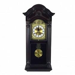 BEDFORD  25.5 Mahogany Cherry Oak*Grandfather WALL CLOCK*with PENDULUM&4 CHIMES