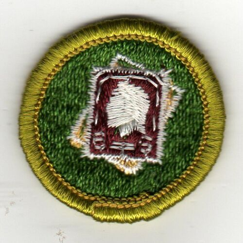 Stamp Collecting Merit Badge, Type G, Cloth Back (1961-71), Mint