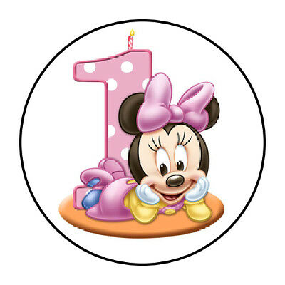 1st Birthday Minnie Mouse (30 Baby Minnie Mouse 1st Birthday Party Favors Themed Treat Bag Stickers)