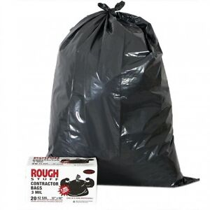 20 pack heavy duty contractor plastic garbage trash bags 3 mil 42 gallon. Black Bedroom Furniture Sets. Home Design Ideas