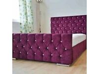 Diamond Florida Aubergine Upholstered Bed 3FT Single 4'6 Double 5FT King Size