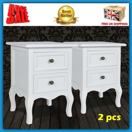 White Shabby Chic Bedside Table Drawers Pair Night Stand Room Furniture Vintage