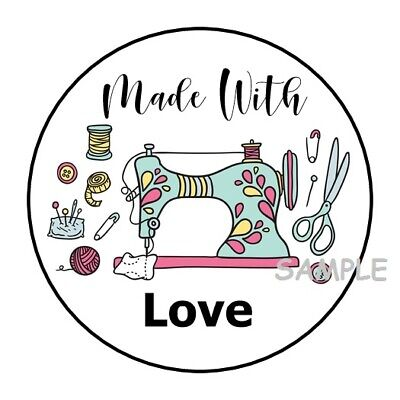 """30 MADE WITH LOVE ENVELOPE SEALS LABELS STICKERS 1.5"""" ROUND SEWING GIFTS"""
