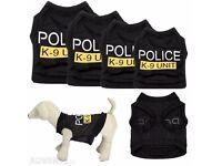 New Dog Cat Vest Police Puppy T-Shirt Coat Pet Clothes Summer Apparel Costumes S