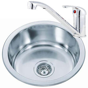 Small-Round-Bowl-Stainless-Steel-Inset-Kitchen-Sink-Chrome-Mixer-Taps-KST073