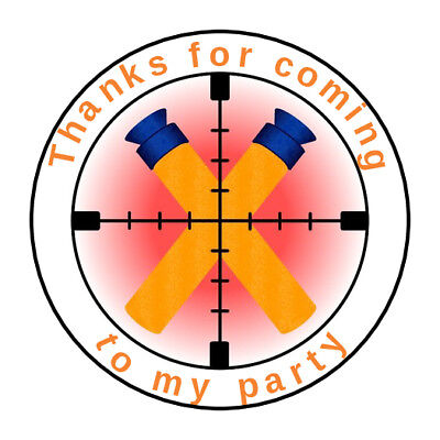 30 Personalized Nerf War Party Envelope Seals Stickers 1.5