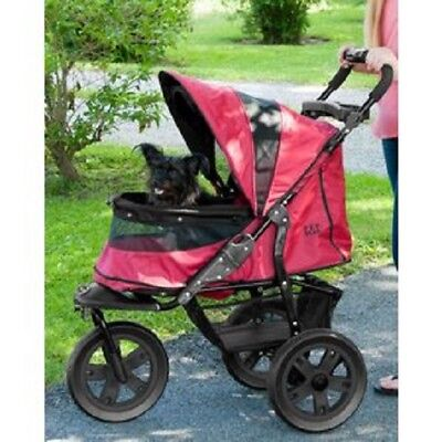 AT3 No-Zip Pet Stroller 3-Wheel Travel Dog Cat Carrier Storage Basket RUGGED RED