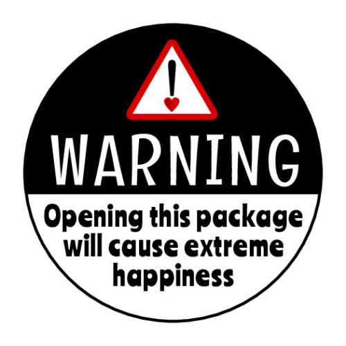 """30 1.5"""" THANK YOU WARNING EXTREME HAPPINESS LABELS ROUND STICKERS ENVELOPE SEALS"""