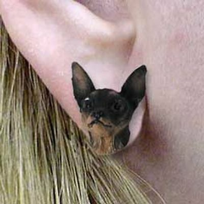 Miniature Pinscher Tan and Black Tiny One Dog Head Post Earrings Jewelry