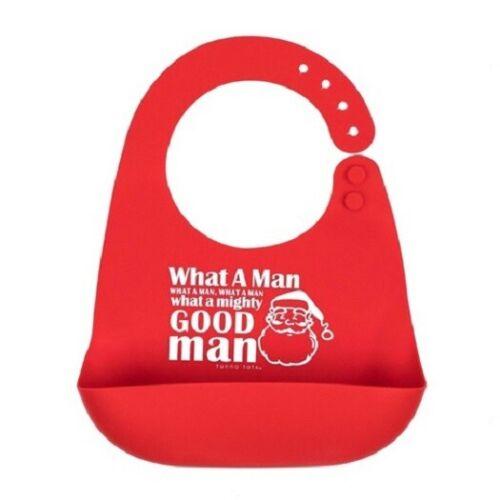 Tunno Tots Red Silicone Mighty Good Man Santa Catch Pocket Bib