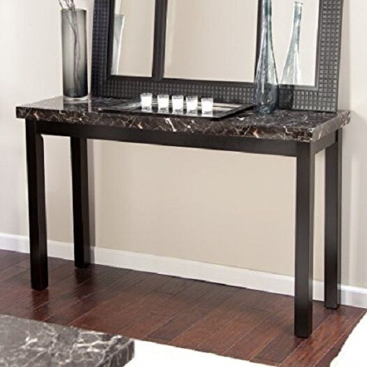 Wood Console Table Faux Marble Top Sofa Hall Entry Black Finish Furniture  New