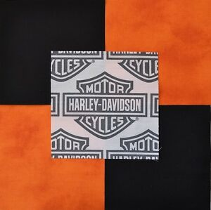 30 6 Quot Harley Davidson Shield Logo Orange Tonal Black Quilt